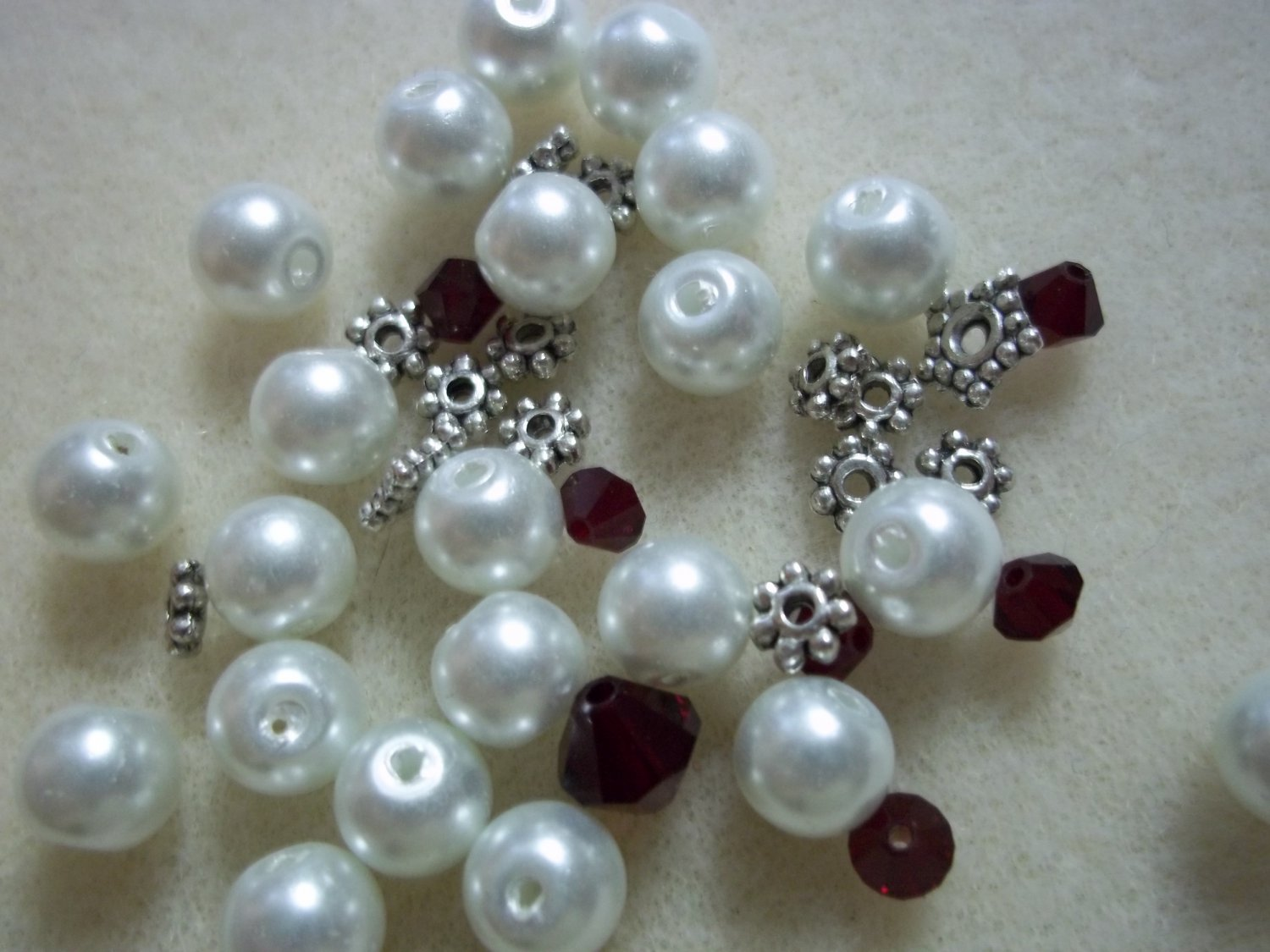 Beaded Bracelet Kit - Glass Pearl & Burgandy