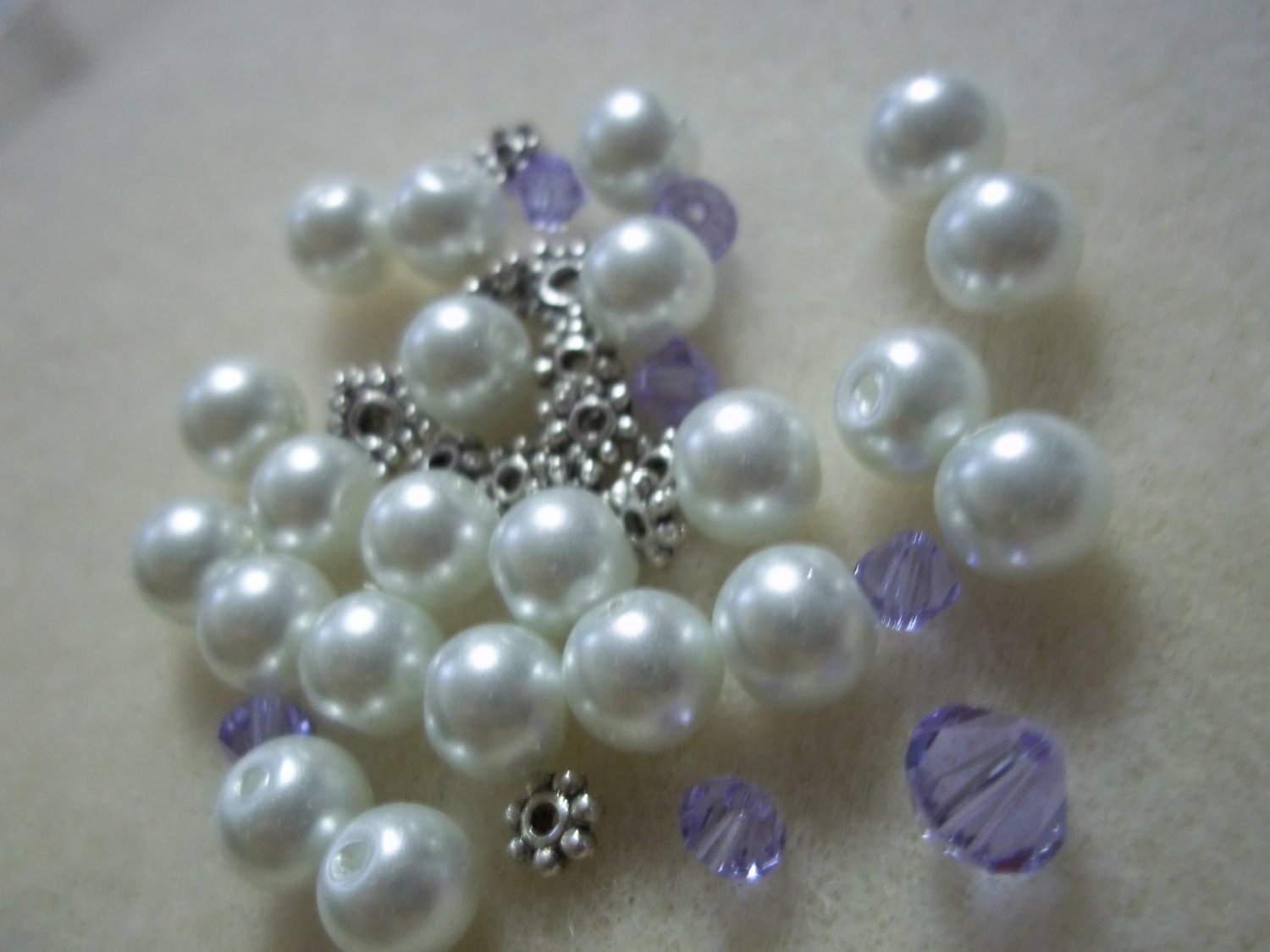 Beaded Bracelet Kit - Glass Pearls & Purple