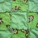 Handmade Green & Brown Monkey Rag Quilt - Security Size