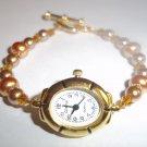 Handmade Beaded Gold & Tan Watch
