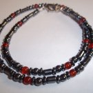 Handmade Men's Red Agate & Hematite Necklace