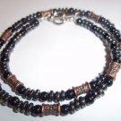 Handmade Beaded Hematite & Copper Men's Necklace
