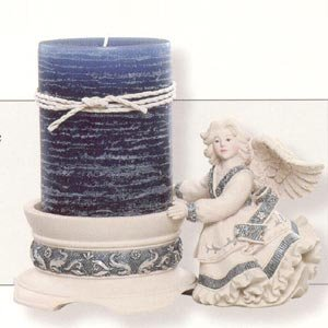 Angel With Pillar Candle Holder 3 piece set