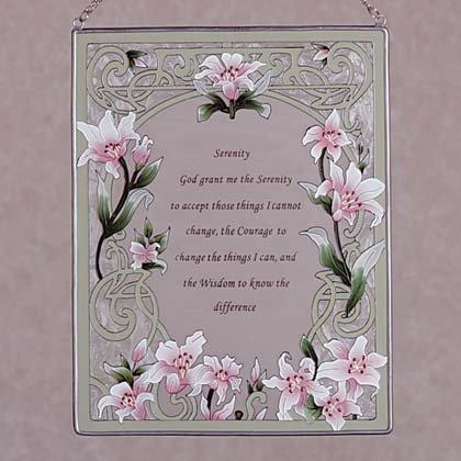 Serenity Prayer Hand painted Glass Suncatcher