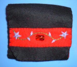 Black, Red, and Purple Organic Wool Felt Tri-Fold Wallet