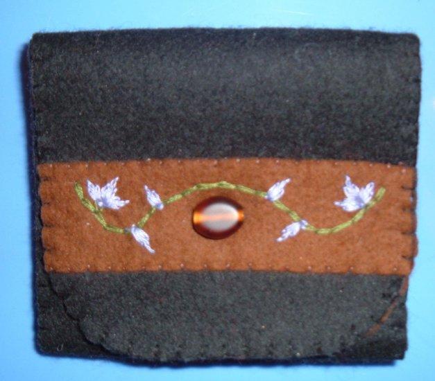 Black, Brown, and Purple Organic Wool Felt Tri-Fold Wallet