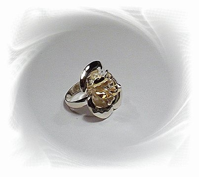 Artisian Handcrafted Designer Sterling Silver Rose Ring With 14k Gold Accent