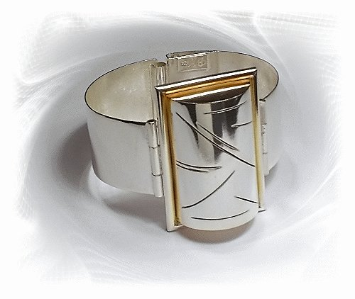 Artisian Handcrafted Designer Sterling Silver Cuff Bracelet Bangle With 14K Gold Accent
