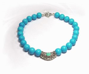 Artisian Handcrafted Designer Sterling Silver Smooth Turquoise Bead Collar Necklace