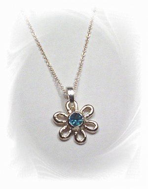 Sterling Silver Blue Topaz Flower Pendant and Necklace