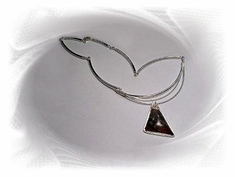 Artisian Handcrafted Designer Sterling Silver Jasper Pendant Necklace