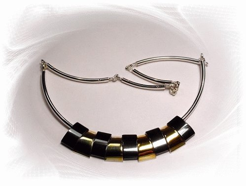 Artisian Handcrafted Sterling Silver Egyptian Style Necklace With Gold Deco