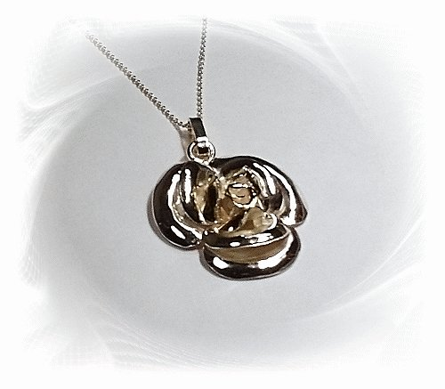 Artisian Handcrafted Sterling Silver Rose Pendant With 14K Gold Deco