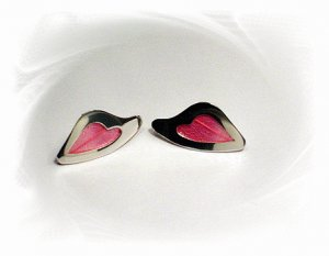 Artisian Handcrafted Designer Sterling Silver Stud Earrings With Pink Deco