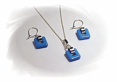 Artisian Handcrafted Designer Sterling Silver Blue Glass Coral Earring and Pendant Set