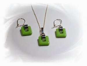 Artisian Handcrafted Designer Sterling Silver Green Glass Coral Earrings and Pendant Set