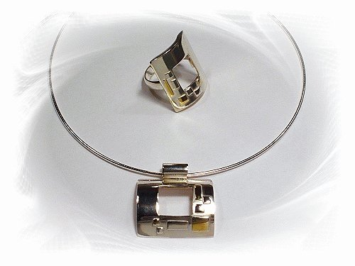 Artisian Handcrafted Designer Sterling Silver Pendant and Ring with Gold Accent