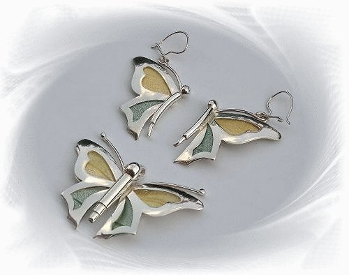 Artisian Handcrafted Designer Sterling Silver Butterfly Earrings and Pendant Set with Accent Deco
