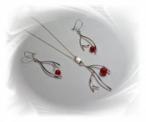 Artisian Handcrafted Designer Sterling Silver Red Coral Earrings and Pendant