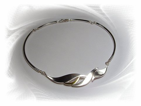 Artisian Handcrafted Sterling Silver Two Tone Choker Necklace