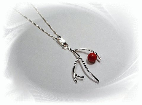 Artisian Handcrafted Sterling Silver Red Coral Pendant Necklace
