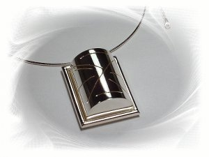Artisian Handcrafted Sterling Silver Rectangle Pendant With Omega Necklace