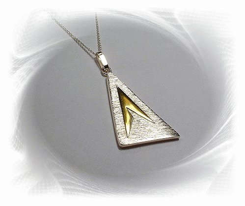 Artisian Handcrafted Sterling Silver Triangle Pendant With 14K Gold Deco