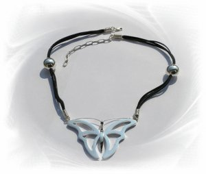 Artisian Handcrafted Sterling Silver Black Cord and Butterfly Pendant Necklace