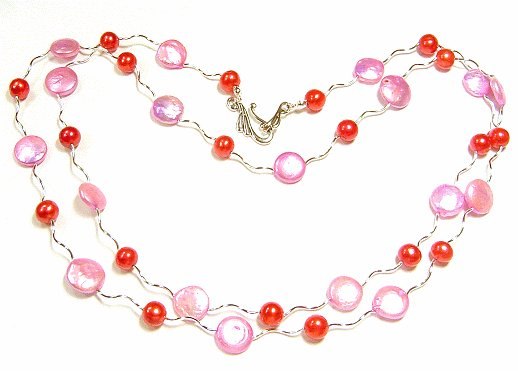 Artisian Handcrafted Designer Pink Shell And Red Freshwater Pearl Necklace