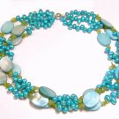 Artisian Handcrafted Designer Blue Pearl Necklace with Olivine and Sterling Silver Clasp