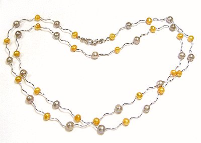 Artisian Handcrafted Designer Silver and Gold Freshwater Pearl Necklace