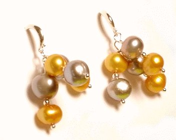 Artisian Handcrafted Designer Silver and Gold Freshwater Pearl Earrings