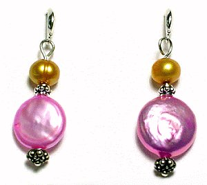 Artisian Handcrafted Designer Multi-Color Freshwater Pearl and Shell Earrings