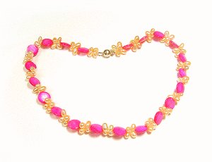 Artisian Handcrafted Designer Pink Shell and Golden Pearl Necklace With Sterling Silver Clasp