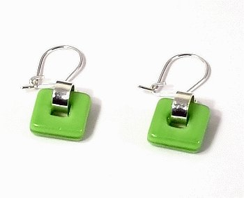 Artisian Handcrafted Designer Sterling Silver Green Dangle Earrings