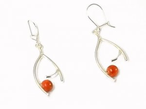 Artisian Handcrafted Designer Sterling Silver Red Coral Dangle Earrings