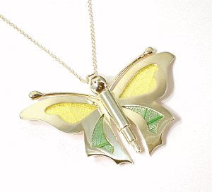Artisian Handcrafted Sterling Silver Butterfly Pendant with Accent Decorations