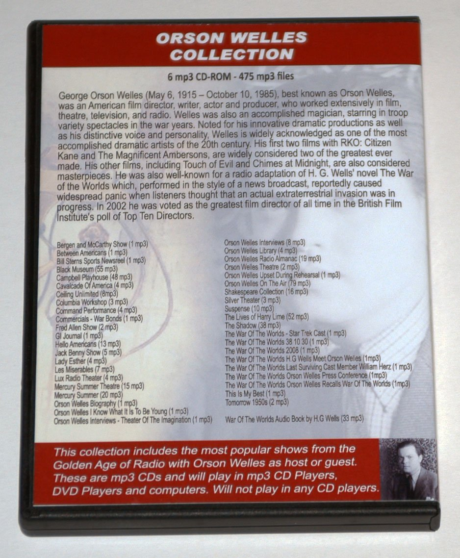 """ORSON WELLES COLLECTION & HG """"Wells War of the Worlds"""" Audiobook - 6 CD475 mp3"""