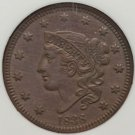 1838 Coronet Head Large Cent  AU58 NGC