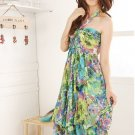 Bohemian summer Floral Chiffon Tube Dress Halter neck womens green