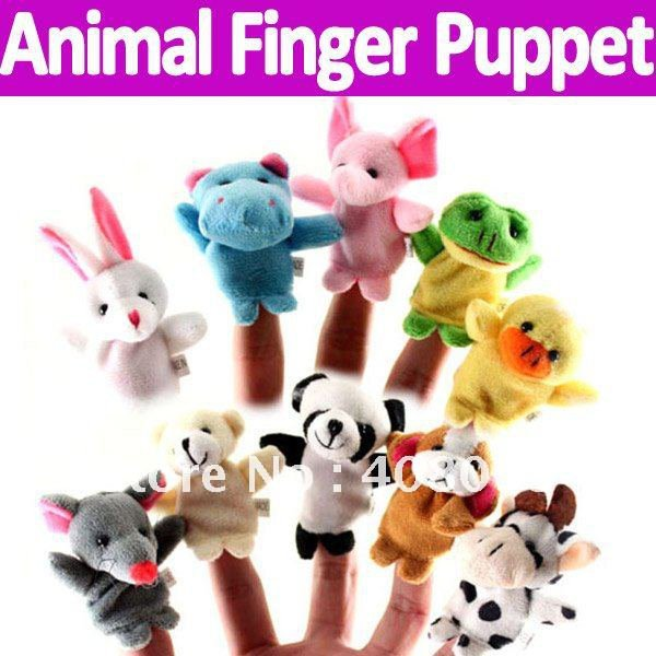 Animal Finger Puppet Free shipping 10pcs/lot plush toy role play learing toy