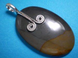 Oval Brazilian Picture Jasper Gemstone Pendant