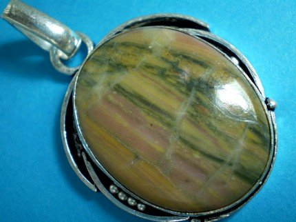 Botswana Stripe Agate Gemstone Pendant in 925 Sterling Silver Inlay