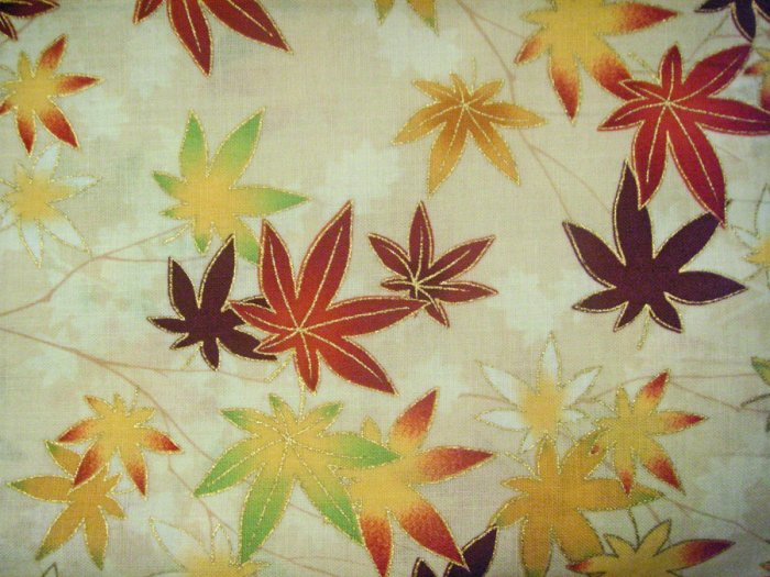 Beautiful Fall Leaves on Light Brown - Cotton Fabric Fat Quarter