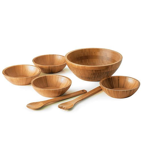 7 pc. Bamboo Salad Bowl Set
