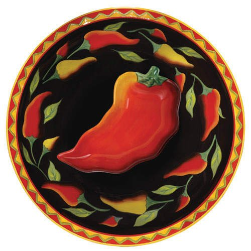 Clay Art Chili Chip and Dip Bowl Set (2 piece)
