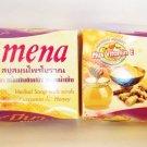 2 bars of MENA Herbal Soap With Scrub Curcumin Honey Anti-Aging Acne Dark Spot Soap 100g./3.5oz.