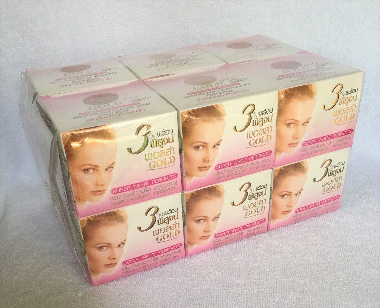 12 PCS of Polla GOLD Super White Perfects Skin Whitening Acne Melasma Night Cream 10g./0.35oz.