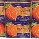 6 PCS of BENNETT Vitamin C + E Natural Extracts Anti-Aging Acne Skin Whitening Soap 130g./4.6oz.