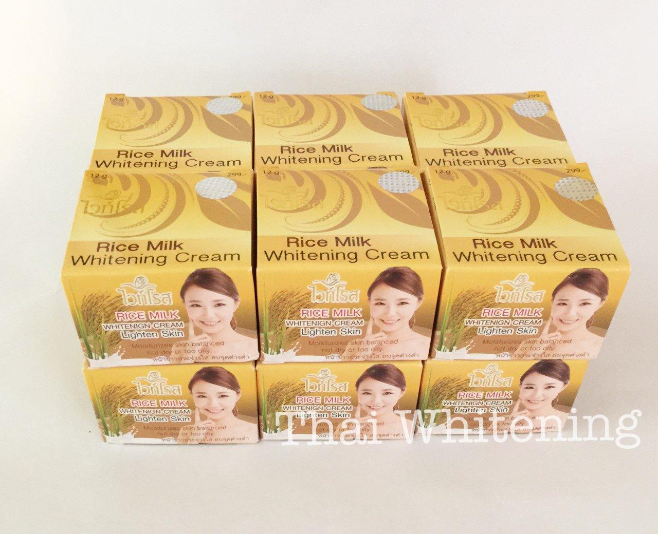 12 x Thai WHITE ROSE Rice Milk Melasma Dark spots Blemishes Skin Whitening Cream 12g.